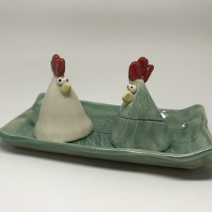 Salt & Pepper set includes matching tray (or butter dish)